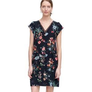 Rebecca Taylor Meadow Silk Floral Tie Waist Dress